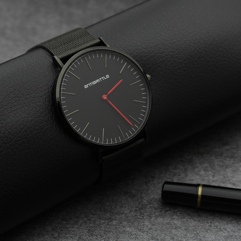 Quartz Ultra Thin Black Men Watch Magnet Strap Stainless Steel Luxury Women Wristwatch Red Hand Real Leather Waterproof 6mm New ultra black