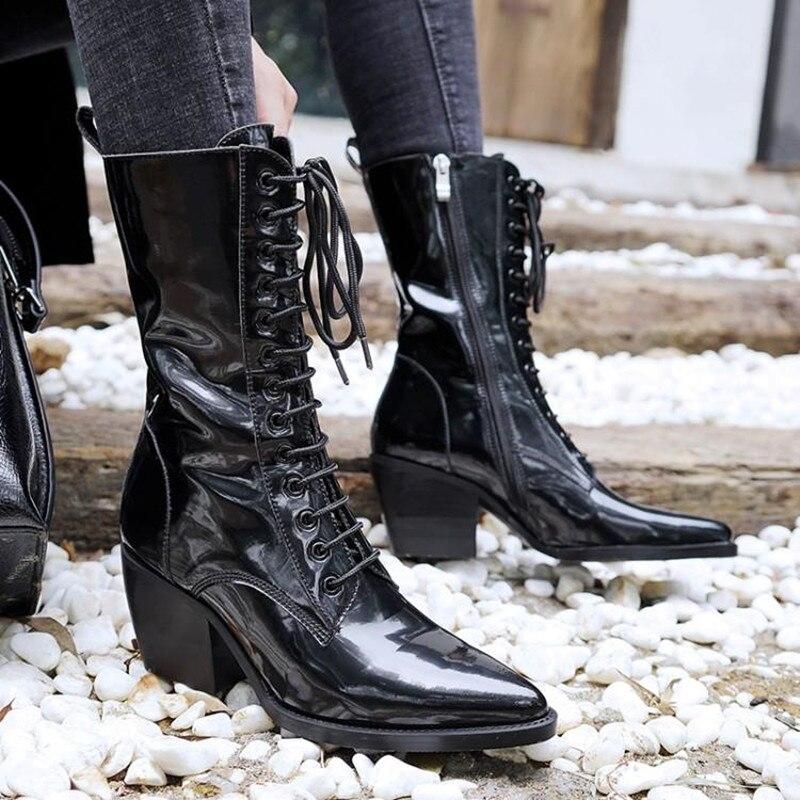 Bota feminina black ankle boots for women lace up punk rain boots ladies shoes cowboy boots designer martin woman shoes 2018 fashion white silver boots women punk boot shoes woman 2018 spring super cool ankle boots for women bota feminina zapatos mujer