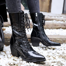 Bota feminina black ankle boots for women lace up punk rain boots ladies shoes cowboy boots designer martin woman shoes 2018 fedonas new fashion ankle boots for women platforms punk rock night club party shoes woman lace up martin shoes basic boots