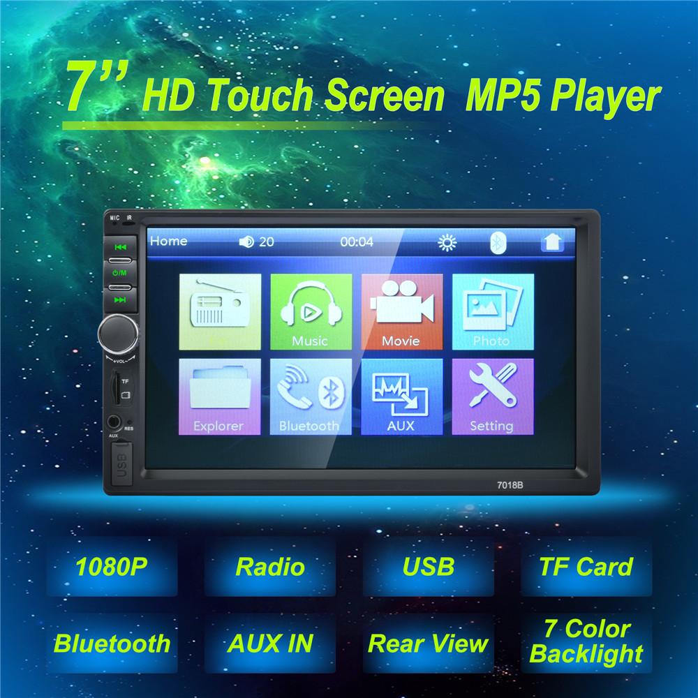 2 Din 7'' inch LCD Touch screen car radio player support multiple Languages Menu BLUETOOTH hands free rear view camera car audio car radio 7 inch lcd touch screen car radio player bluetooth hands free movie rear view camera 2 din audio stereo mp5