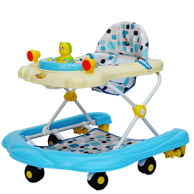 Mejores Ventas de 7-18 meses de Bebé de Seguridad Caminante Anti Vuelco Andadores Multifuncionales Tipo U Con Música Juguetes Placa plegable Fácil