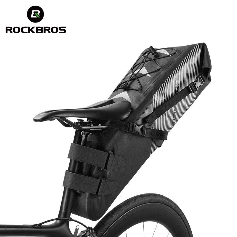 ROCKBROS Bicicleta À Prova D' Água Alforje Bicicleta Reflexivo 10L Grande Capacidade Dobrável Saco de Cauda Traseiro Ciclismo MTB Tronco Pannier Preto