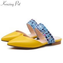 Krazing pot 2019 mules genuine leather low heels slip on vintage women pumps princess diamond beauty Korean girl slippers L28(China)