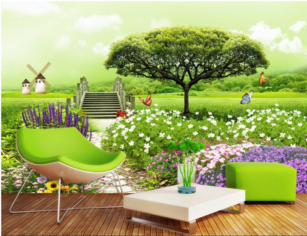 Custom photo Non-woven mural 3d wallpapers for living room A tree pastoral painting 3d wall murals wallpaper for walls 3 d ceiling non woven wallpapr home decoration wallpapers for living room 3d mural wallpaper ceiling customize size