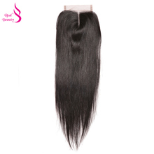 Real Beauty Brazilian Lace Closure Straight 100% Remy Human Hair Middle Part 4*4 Bleached Knots Closure Free Shipping