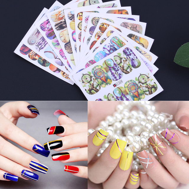 12pcs Nail Art Stickers Western Style Dream Catcher Water Transfer Sticker  Gel Nail Decals Manicure Design - 12pcs Nail Art Stickers Western Style Dream Catcher Water Transfer