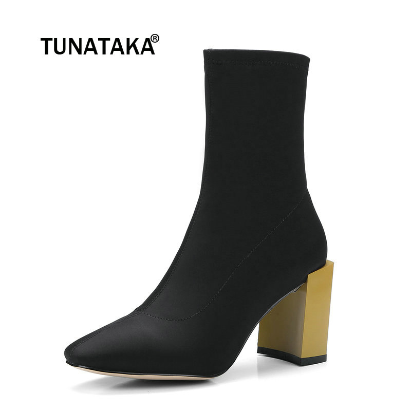 Stretch Fabric Square High Heel Woman Ankle Boots Fashion Slip On Dress Ladies Boots Black Yellow
