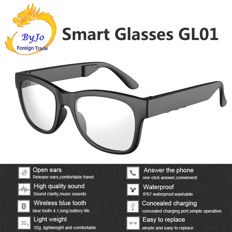 GL01 Bone conduction Bluetooth glasses IP67 Waterproof One click answering call Compatible with sunglasses and myopia