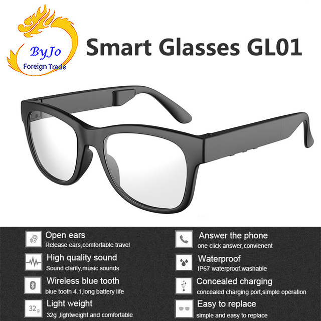 6ff1664bf0 GL01 Bone conduction Bluetooth glasses IP67 Waterproof One-click answering  call Compatible with sunglasses and myopia glasses