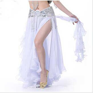 New Design white color stage show Skirt fashion belly dancing Skirt with splits on each side