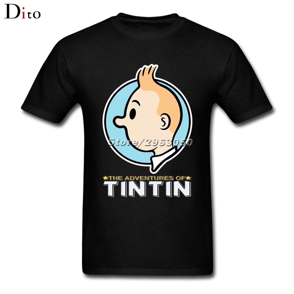 Приключения Тинтина футболка Для мужчин Топ Дизайн короткий рукав мода Custom XXXL киноман футболка