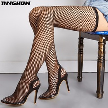 TINGHON Classic Mesh Boots Solid Knee-High Women Slip-On Sexy Summer Pumps Pointed Toe Shoes Black Green Size 35-42