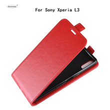 лучшая цена HUDOSSEN For Sony Xperia L3 I3312 I4312 I4332 Case Luxury PU Leather Back Cover Coque For Sony L3 Flip Protective Phone Case