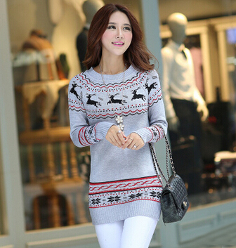 Fashion pullover women cute warm reindeer Christmas sweaters 2015 ...