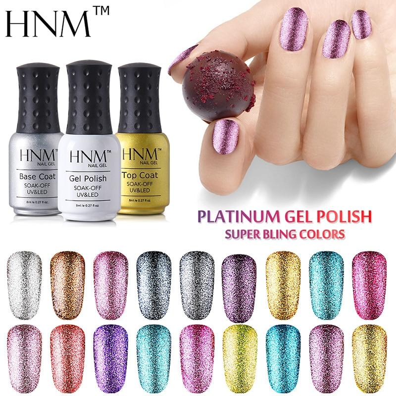 Платиновые блестки HNM 8 мл, блестящий Гель-лак для ногтей, Полупостоянный, отмачиваемый УФ-светодиодный лак, лак для нейл-арта, маникюр