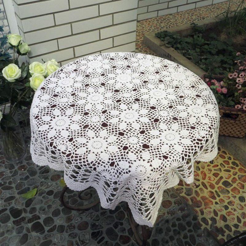 DIY Crochet Retro cuadrado mesa de comedor ahueca hacia fuera tejer ...