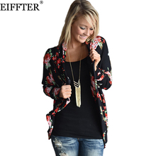 EIFFTER Women Floral Printed Blouse New Fashion Autumn Long Sleeve Irregular Printed Kimono Cardigan Ladies Tops