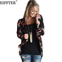 EIFFTER Women Floral Printed Blouse New Fashion Autumn Long Sleeve Irregular Printed Kimono Cardigan Ladies Tops Plus Size 0135