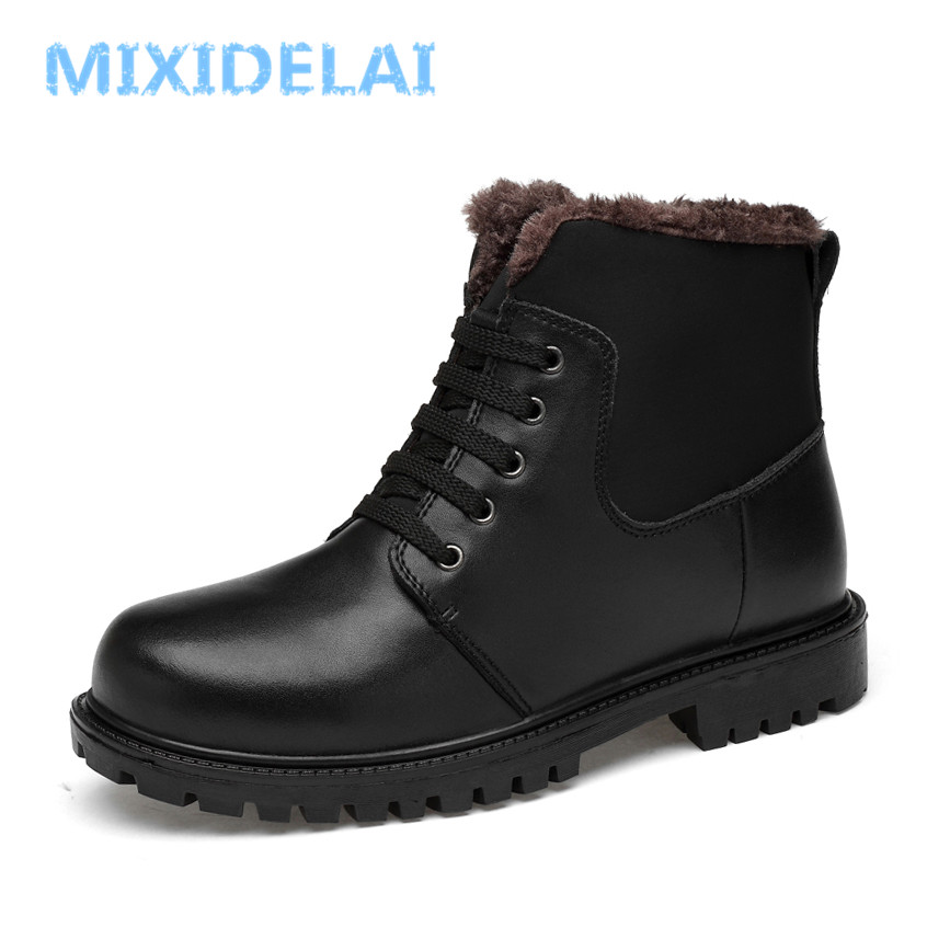 MIXIDELAI Autumn And Winter Add Fur Men Boots Top Quality Comfortable Men  Winter Shoes Natural