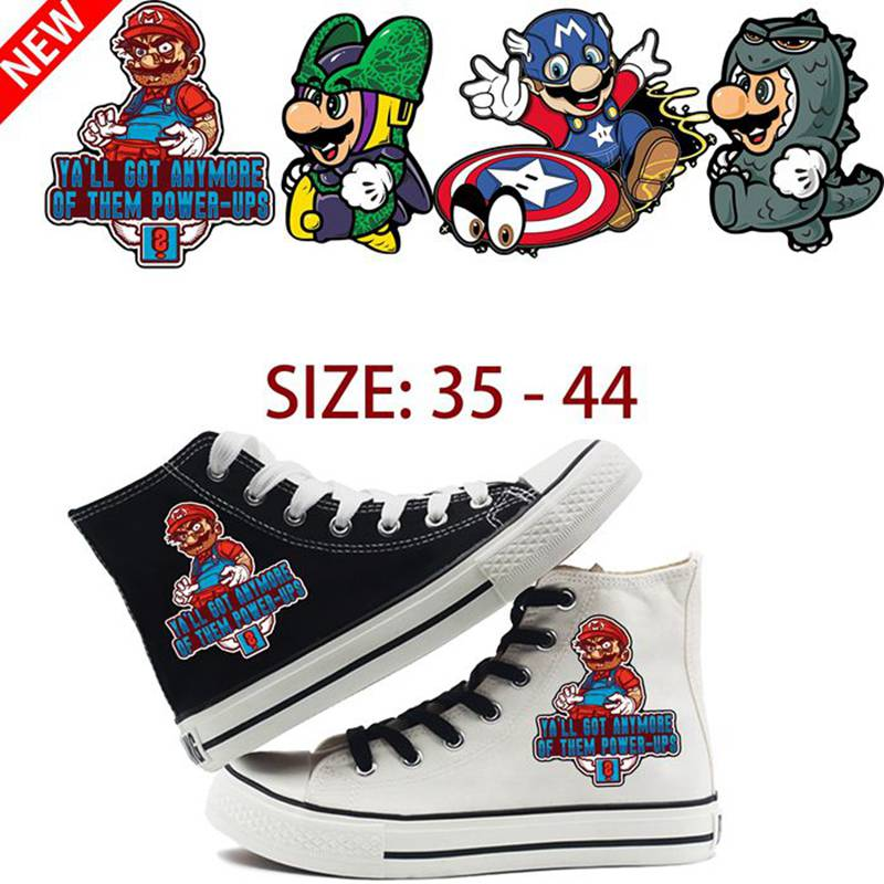 Mario Cosplay Dragon Ball Printing Cartoon High Heel Canvas Uppers Sneakers College Customized Fashion Trainers