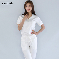 sanxiaxin summer short sleeved surgical clothing male and female oral beauty oral pet doctor uniform solid color piece clothing