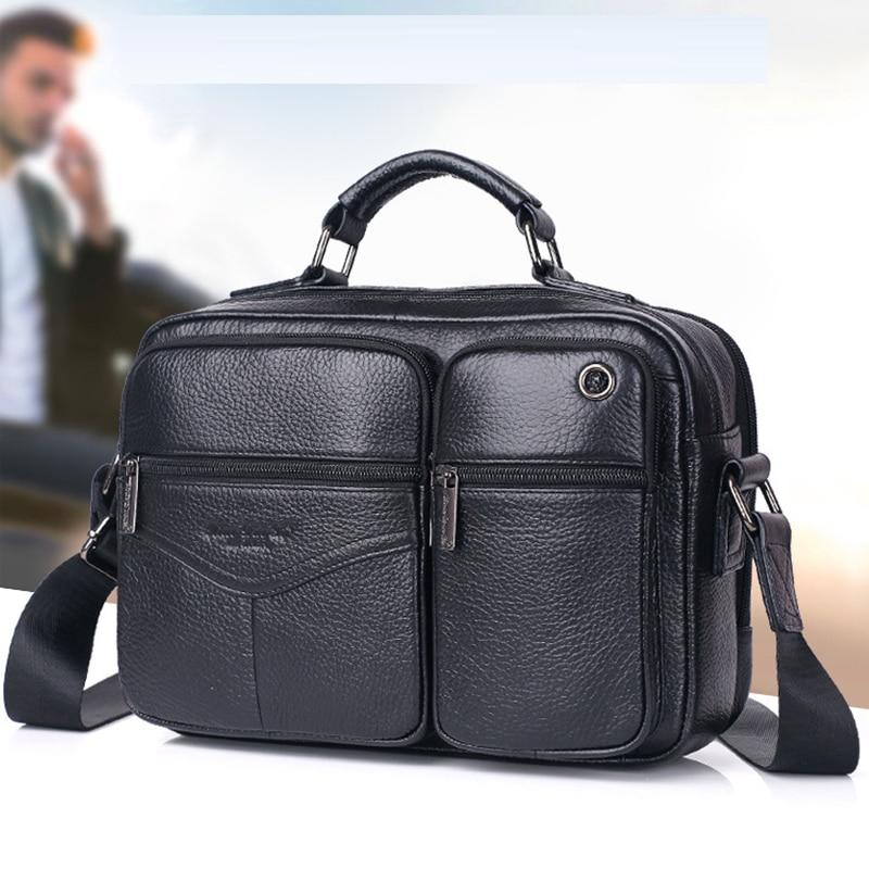 Men Genuine Leather Cross Body Tote Business Bag High Quality Real Cowhide Casual Sling Shoulder Handbag