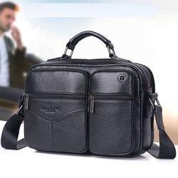 Мужская сумка-тоут из натуральной кожи, деловая сумка высокого качества из натуральной воловьей кожи, Повседневная сумка на ремне, сумка-ме...