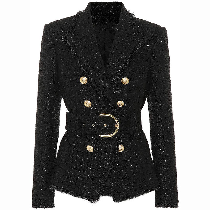 Foreign Trade Explosion 2019 New British Brilliant Short Silk Wool Belt Slim Double-Breasted Suit Coat Black Jacket Women