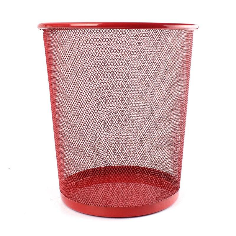 Best Office Can iron Mesh Waste Bin Wastebasket Rubbish Paper Net Trash Basket Red 26.5*23.5*18.5cm