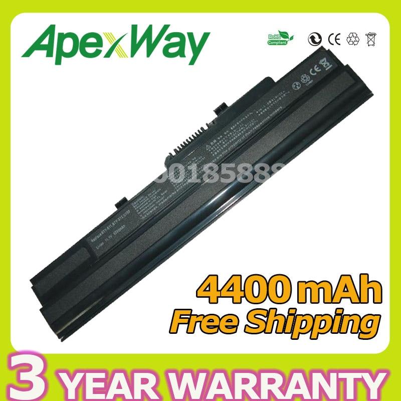 Apexway 4400 mAh 11.1 v batterie dordinateur portable BTY-S11 BTY-S12 pour msi Wind U90 U100 U100X U210 pour LG X110 pour Lakoya Mini E1210Apexway 4400 mAh 11.1 v batterie dordinateur portable BTY-S11 BTY-S12 pour msi Wind U90 U100 U100X U210 pour LG X110 pour Lakoya Mini E1210