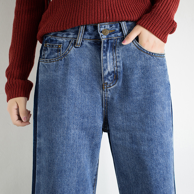 Idopy Fashion Women Vintage Washed Denim Wide Leg Pants Female Side Stripe Legging High Waist Jeans Bell Bottom Jeans For Women 4