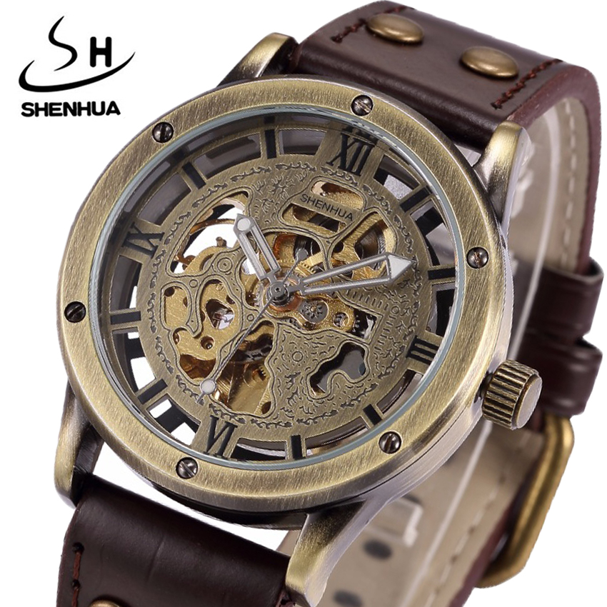 Bronze Automatic Men Mechanical Watch Top Band Luxury Skeleton Self-wind Wristwatch Male Clock Gift For Man Relogio Masculino