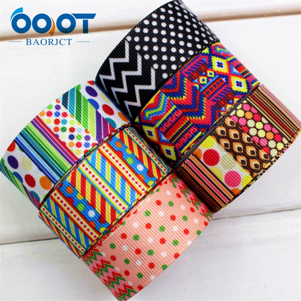 OOOT BAORJCT 174143,22mm geometry Printed grosgrain ribbon,DIY handmade,Wedding decoration materials, Valentines Day essential