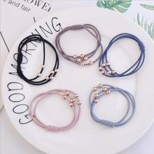 Golden Beads High Elastic Ladies Hair Ring Three-In-One Dot Rubber Band Hair Accessories Jewelry For Women(China)