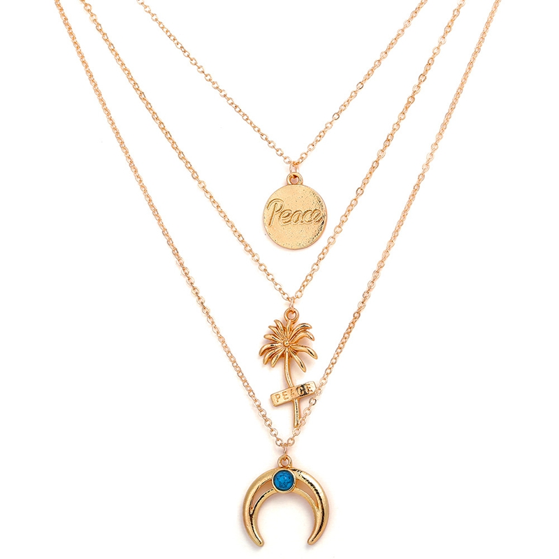 Alloy Moon Coconut Tree Metal Rod 3 Layer Pendant Necklaces Bohemian Party Jewelery Choker Necklace