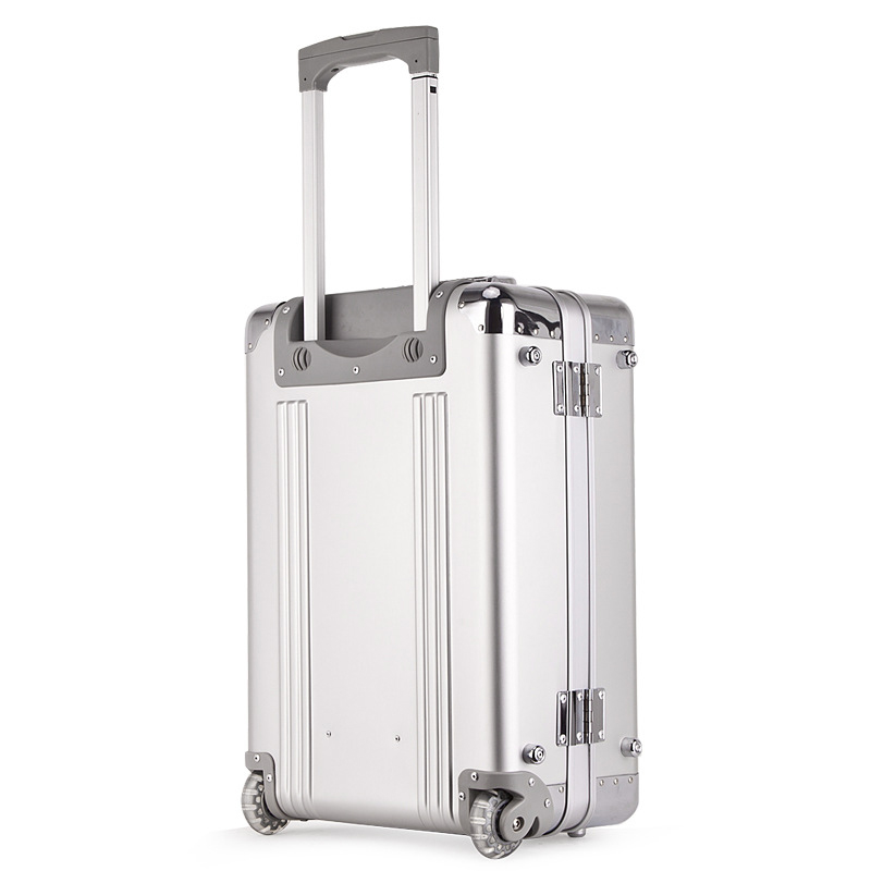 Letrend 100% Aluminum-magnesium alloy Rolling Luggage Spinner Trolley Travel Bag 20 inch Men Carry On Suitcases Wheels Trunk