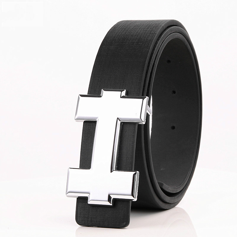 Luxury Designer H Brand Designer   Belts   Men High Quality Male PU Leather Women   Belt   Buckle Strap for Jeans Black size 105cm