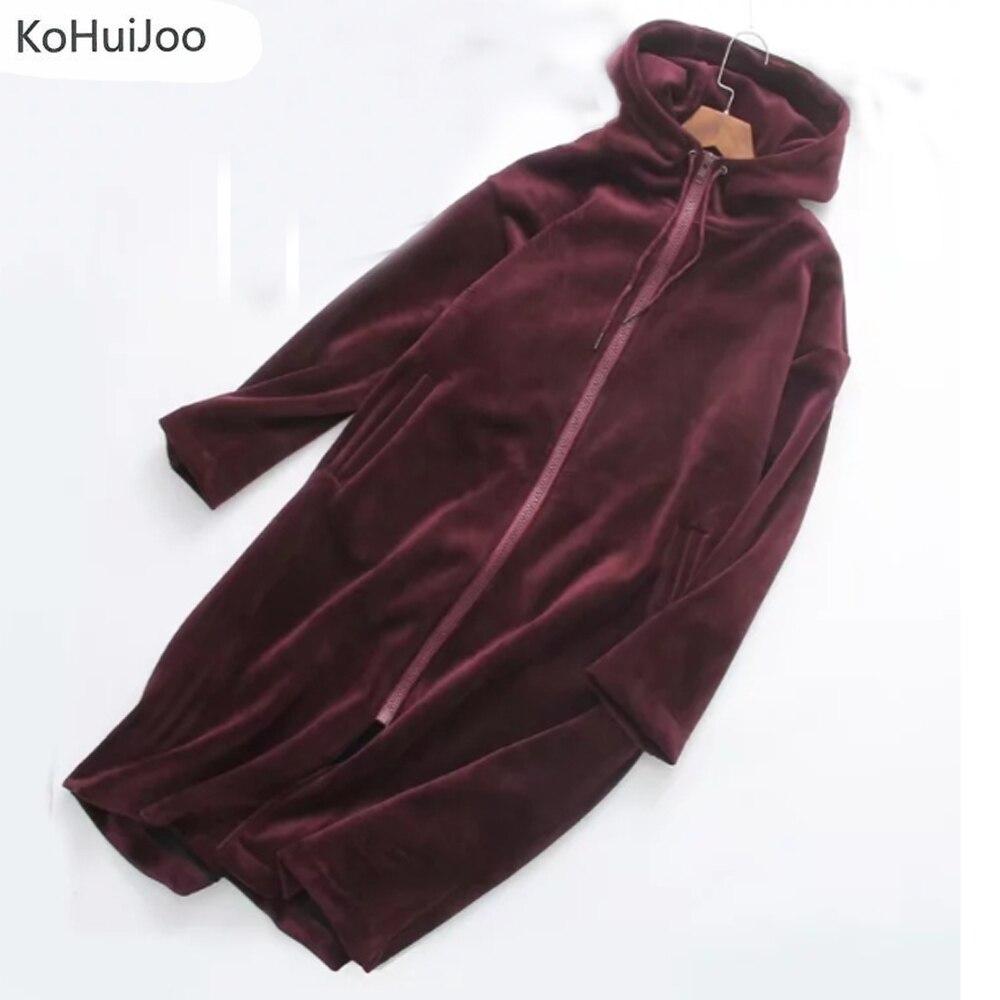 KoHuiJoo 2019 Autumn Winter Women Long Hoodies Jacket Plus Size Loose Zipper Thick Warm Velvet Hoodie Sweatshirt Coat Femme