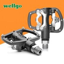 Wellgo R120B MTB dağ bisikleti klipsiz pedallar Cleats ile SPD uyumlu bisiklet alüminyum alaşımlı kendinden kilitleme pedalı