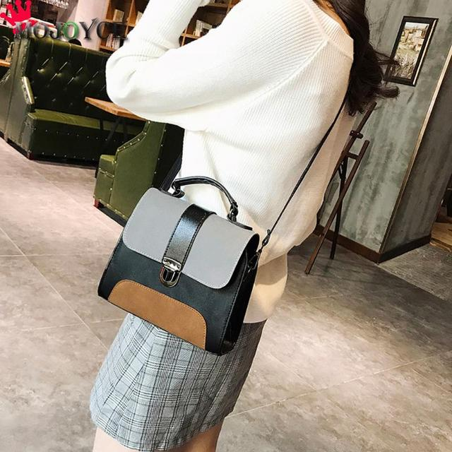 Casual Women PU Leather Sling Handbag Girls Crossbody Bag Patchwork Color Messenger Shoulder Bag Female Handbag 4