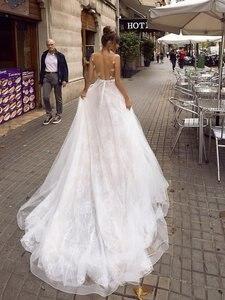 Image 3 - ローリー A ライン背中のウェディングドレス 2019 セクシーなスパゲッティストラップブライダルドレス 3D レース花の妖精ビーチウェディングドレス