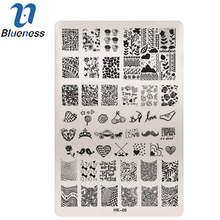 Blueness 1 Pcs  Water Decal Stencils For Manicure Stemping Plates Stainless Steel Stamp Polish Template Nail Art Tool