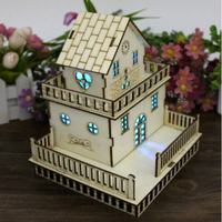 20167NewCreative Wooden Small House With Light Green Wood Ornaments Small Western Style Villa Model Birthday Gift