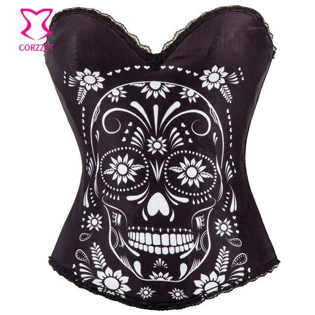 Corzzet Black Cotton Skull Strapless Overbust Corset Waist slimming Steel Boned Burlesque Sexy Lingerie Hot Korsett For Women