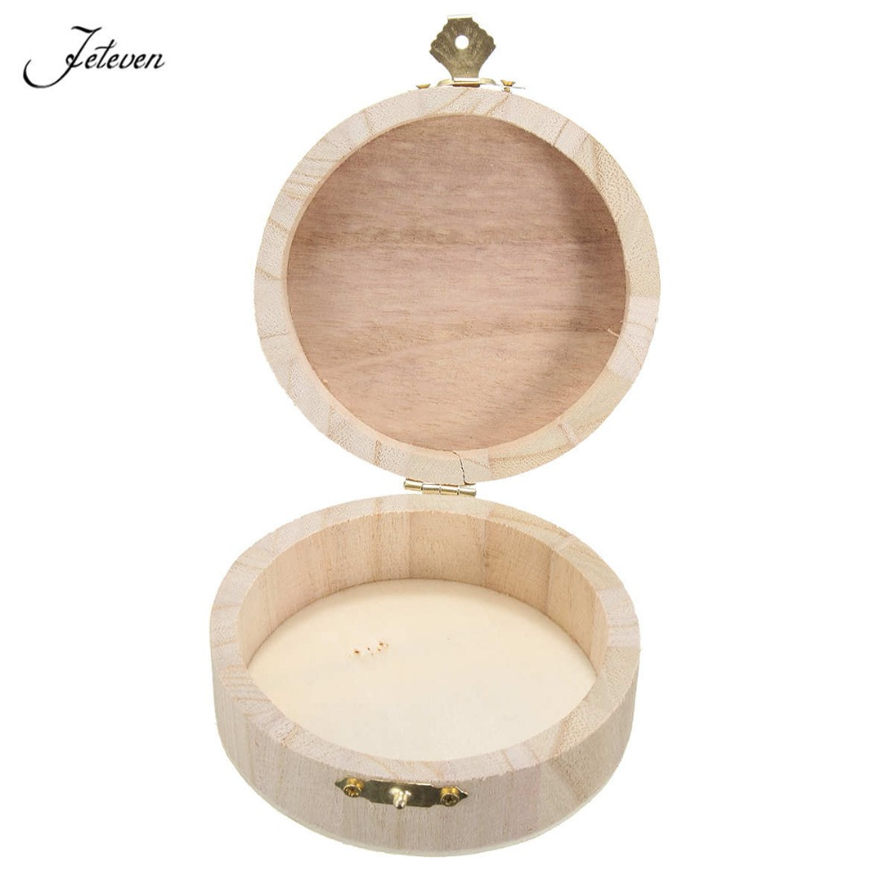 Simple Portable Jewelry Storage Boxes Round Wooden Box