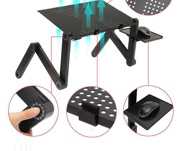 Portable Adjustable Aluminum Laptop Desk Ergonomic TV Bed Laptop Tray PC Table Stand Notebook Table Desk Stand With Mouse Pad 5