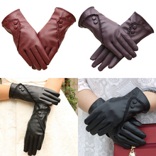 Fashionable Luxury Womens Leather Winter Super Warm Gloves Luvas de inverno Cashmere Fall Fashion Finger Guantes mujer
