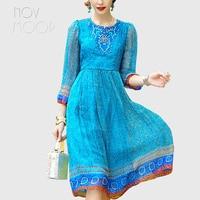 Летние женские boho Цветочные геометрический натуральный шелк синий красное платье спереди Бисероплетение Вышивка кружева сарафан vestido jurken