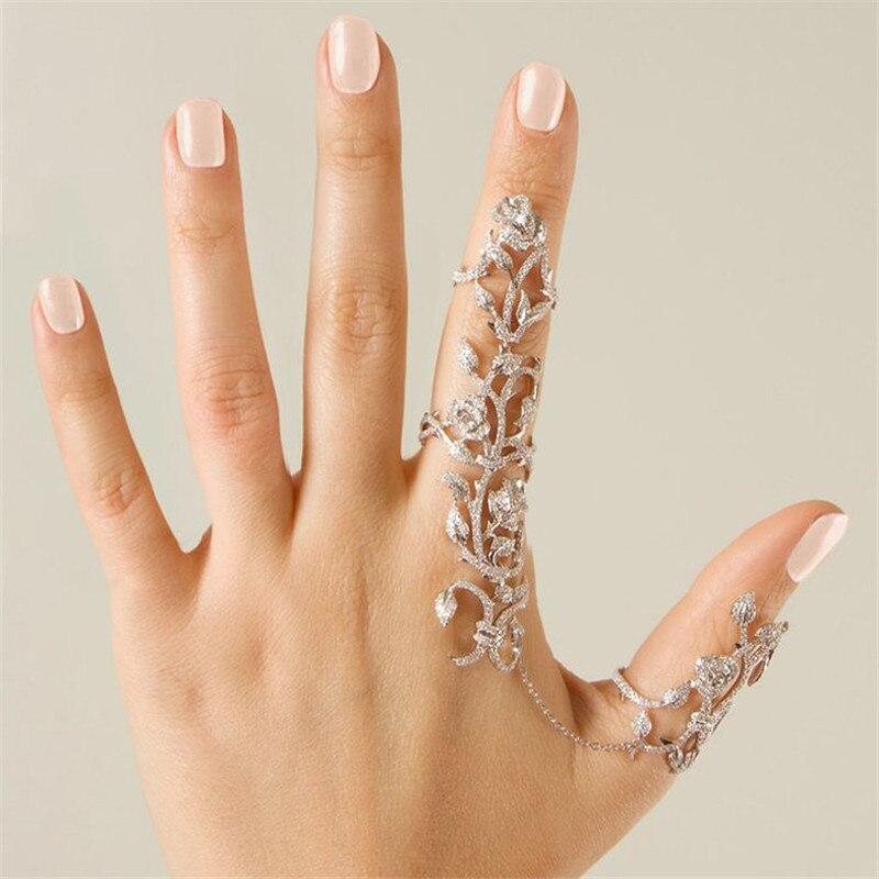 Vintage Rhinestone Rose Flower Double Full Finger Ring For Women ...