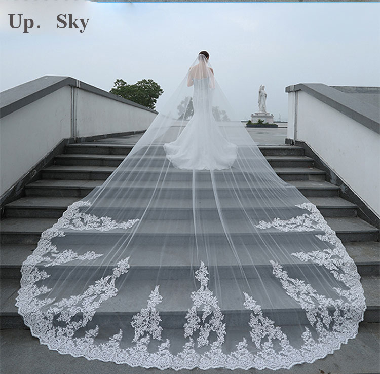 4 Meter White/Ivory One Layer Beautiful Cathedral Length Lace Edge Wedding Veil With Comb Long Bridal Veil  2019